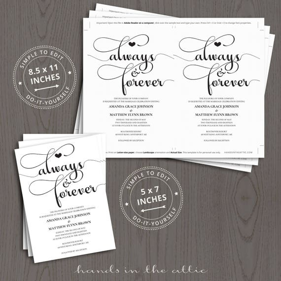 Printable Wedding Invitation Kits Sets In Black Customizable And With RSVP Card Elegant Always Forever DIGITAL Templates DIY