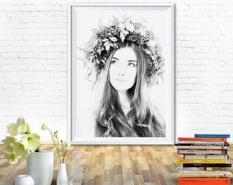 Woman print, black and white wall art, woman drawing, woman sketch, woman art, prints black and white, black and white prints, printable art