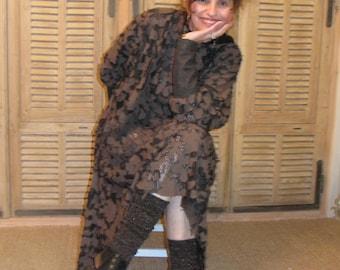 Black dress and sleeves Brown bat
