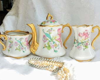 Vintage Concorde China Pink Tulip Tea Set Spring Floral Teapot Sugar Creamer Scalloped with gold gild, Made in USA  Afternoon Tea Set Tulip