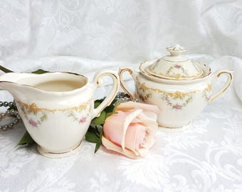 Vintage Syracuse China Federal Shape Creamer Sugar Bowl Pink Rose Sugar and Creamer, Pink Shabby Chic Tea set, Rose Swag Tea Set Made In USA