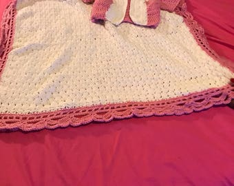 Stroller blanket with matching sweaters