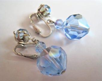 Blue Crystal Dangle Clip Earrings