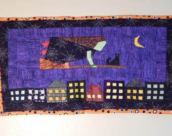 Witch on Broomstick with Cat Quilt