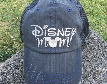 Disney Mom distressed Trucker Hat women baseball disney mama disneyland park minnie mickey mouse disney world vacation gift birthday party
