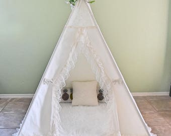 Lace Muslin Kids Teepee, Kids Play Tent, Childrens Play House, Tipi,Kids Room Decor