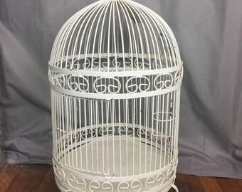 Vintage Bird Cage, Wrought Iron Bird Cage, Painted Bird Cage, White Iron Bird Cage