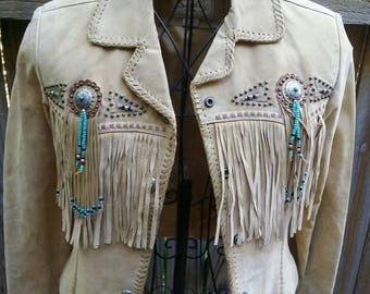 Leather Scully Fringe Beeded Jacket Western/Festival