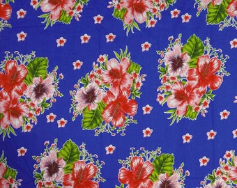 """Blue Fabric, Floral Print, Dressmaking Fabric, Indian Decor, Quilt Fabric, 42"""" Inch Cotton Fabric By The Yard ZBC6166"""