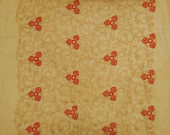 "Net Fabric, Antique Embroidery Fabric, Dress Material, Beige Fabric, Upholstery Fabric, 46"" Inch Fabric By The Yard ZBD138A"