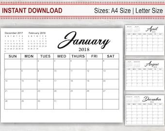 Monthly Planner Calendar 2018, Printable Calendar 2018, Monthly Calendar,  Editable Calendar, Download Calendar Template, Simple Calendar