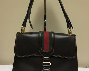 Gucci Web Vintage Brown Leather Shoulder Bag 70s Rare SALE