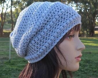 Blue Grey Slouch Beanie, Slouchy Wool Hat, Womens Girls Warm Hat, Crochet Wool Beanie