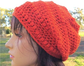 Orange Slouch Beanie, Slouchy Wool Hat, Womens Girls Warm Hat, Crochet Wool Beanie