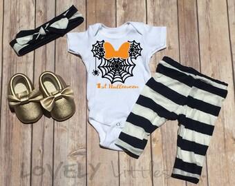 First Halloween Onesie,Baby Halloween Outfit Set,Kids Leggings, Baby Leggings,Disney Onesie , Top Knot, Halloween, Disney Halloween, Disney