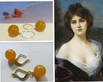 Amber Earrings round beads Natural Baltic 3.1 g. yellow egg yolk butterscotch opaque polished silver or gold color french clasp adult teens
