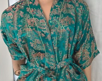 Vintage 90s Chinese Imperial Gardens Robe with sash size 12-14