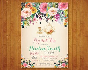 Bridal Shower Tea Party Invitation. Watercolor Floral Bridal Tea Shower Invitation. Teapot. Flower. Vintage. Retro. Printable Digital.