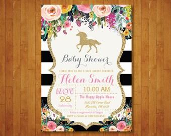 Unicorn Baby Shower Invitation. Pink Black and Gold Baby Shower Invite. Gold Glitter. Floral Flower. Girl Baby Shower. Printable Digital.