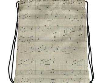 Music backpack, music bag, drawstring music backpack, musical note backpack, musical note bag, drawstring rucksack, drawstring backpack,