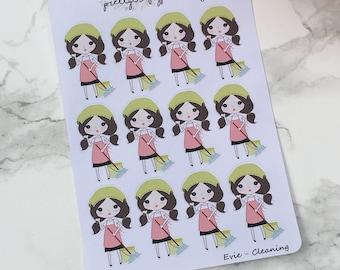 Evie - Cleaning Stickers, Sweep, Chores | Perfect for Erin Condren, Plum Paper, Filofax, Kikki K
