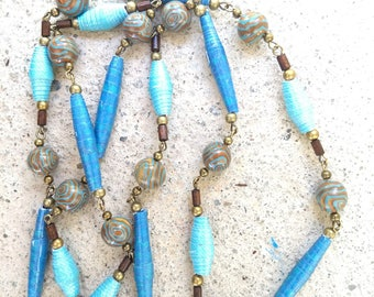 Blue brown long boho necklace with paper tube beads,blue and bronze colored swirl clay beads,wood beads,brass links,long paper bead necklace