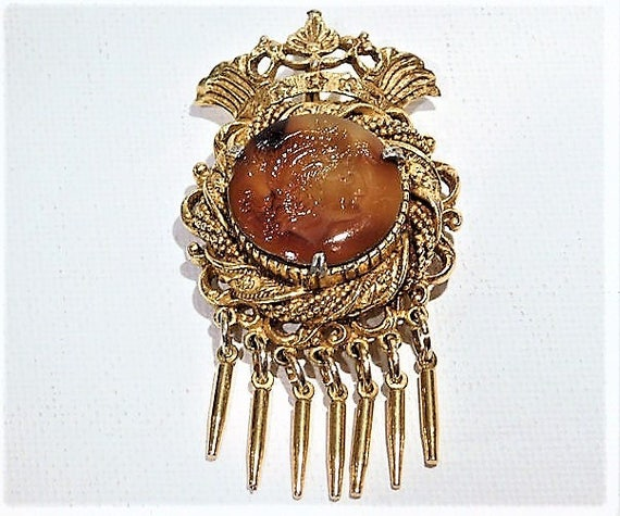 Florenza Intaglio Cameo Tassel Brooch Pendant Slag Art Glass Cabochon Victorian Revival Crown Mid Century 1960s 60s Jewelry Designer Signed