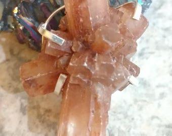 Orange Aragonite Star Crystal Cluster  Pendant Necklace