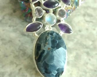 Natural African Black Pietersite, Moonstone and Amethyst Pendant Necklace