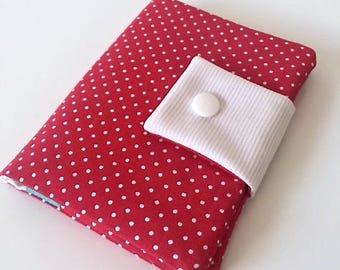 Porte-cartes rouge à pois blanc création Unique en Son Genre