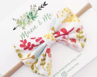 Bright Floral Sailor Bow / Sailor Bow / Nylon Headband / Girls Bow Headband / Rifle Paper / Macie and Me