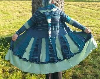 Upcycled pixie elf sweatercoat