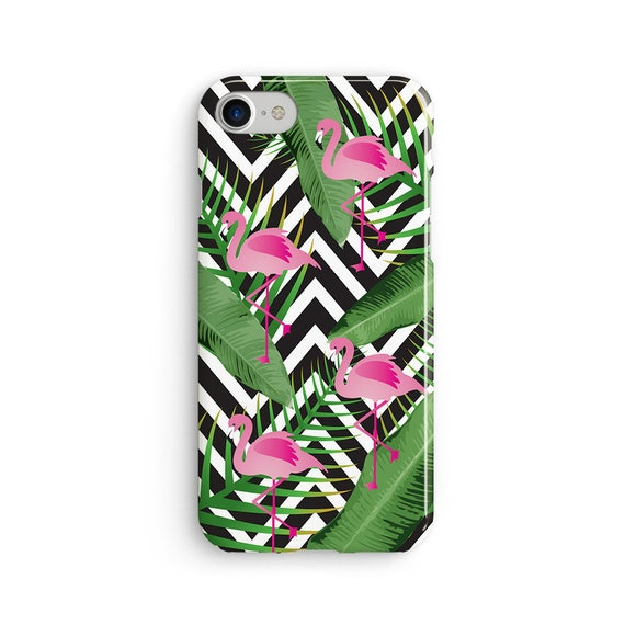 Flamingo black and white chevron tropical  iPhone X case - iPhone 8 case - Samsung Galaxy S8 case - iPhone 7 case - Tough case 1P046