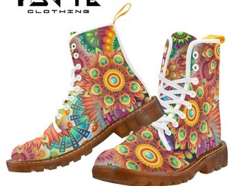 Rainbow Floral Festival boots, Burning man boots, Dr Marten style boots, Combat boots, Ladies and Mens Festival shoes and boots,