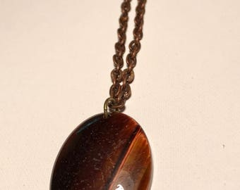 Tigers-Eye Stone Pendant on 24in Vintage Brass Chain