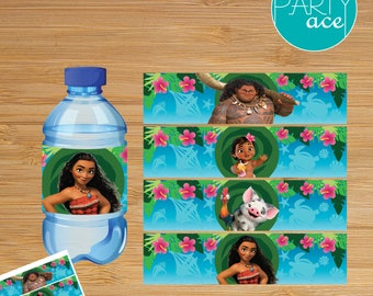 "Moana Birthday Printable Water Bottle Labels ""Returns the heart of Te Fiti"" Moana Birthday Party Decoration"