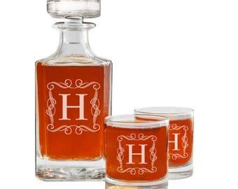 Personalized Whiskey Decanter, Custom Decanter, Engraved Whiskey Decanter, Rocks Glasses, Gift For Men