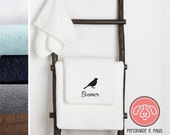 Bird Embroidered Towel