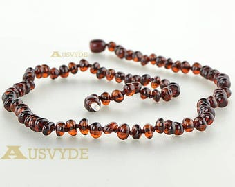 Baroque amber necklace, Baltic amber, Amber necklace, Adults necklace, Cherry amber, Knotted necklace, 45cm (6186)