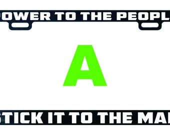 Power to the people stick it to the man license plate frame tag holder decal sticker