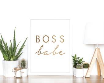 Boss Babe - Rose Gold Foil Print - Minimalist - Girl Boss - Gift Idea