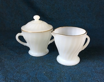 Vintage Fire King White Shell Milk Glass Sugar Bowl and Creamer with Gold Trim, Anchor Hocking