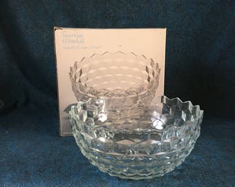 Indiana Glass American Whitehall Cubist Salad or Fruit Bowl