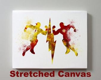 Flash vs Reverse Flash Eobard Thawne v Barry Allen Stretched Canvas Print