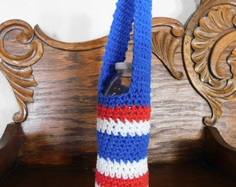 Crochet Water Bottle Holder Patriotic Red White and Blue Bottle Holder l