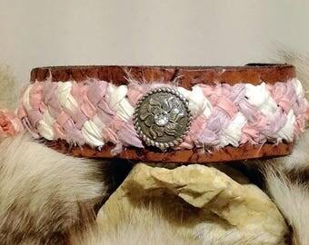 Leather Braided Sari Silk Headband with Rhinestone Concho