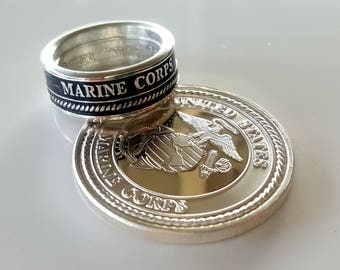 Marine Corp Silver Coin Ring - Military Round - Marines