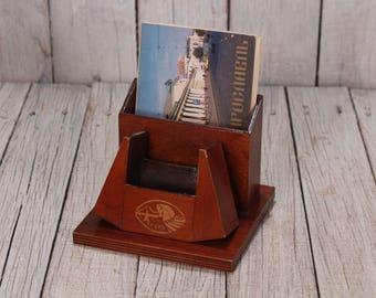 Vintage wooden pencil holder -  Wood Desktop Organizer - Office Storage - Desk Organizer