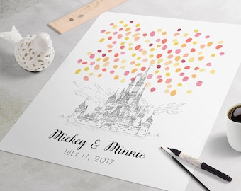 Disney Wedding Guest Book: Disneyland Wedding Sign In Guest Book. Fingerprint guest book for wedding, Disney Castle fingerprint tree art