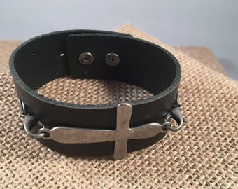 Leather Bracelet with Pewter Cross, Leather Bracelet, Cross Bracelet
